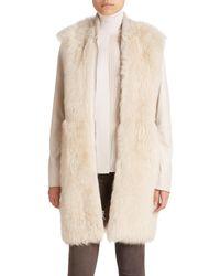 Vince - Natural Long Leather & Fur Coat - Lyst