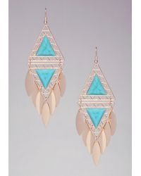 Bebe - Blue Triangle Stone Earrings - Lyst