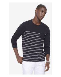Express | Black Striped Twisted Slub One Pocket Crew Neck Tee for Men | Lyst