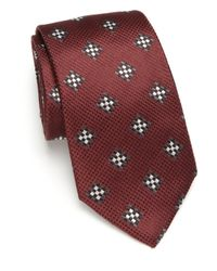 BOSS - Purple Checkered Silk Tie for Men - Lyst