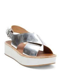 Dolce Vita | Metallic Ziggie Leather Platform Sandals | Lyst