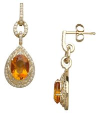 Lord & Taylor | Orange 14k Yellow Gold Citrine And Diamond Drop Earrings | Lyst