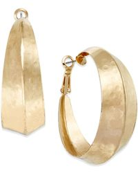 INC International Concepts | Metallic Gold-Tone Hammered Wide Hoop Earrings | Lyst