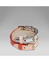 Smythson - Orange Triple Buckle Bracelet - Lyst