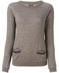 Armani Jeans - Brown Chain Trim Sweater - Lyst