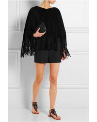 Valentino - Black Fringed Suede Poncho - Lyst