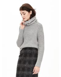 Banana Republic | Gray Mixed-stitch Turtleneck Sweater | Lyst