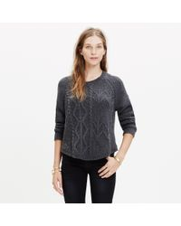 Madewell - Black Block-stitch Cable Sweater - Lyst