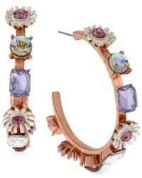 Betsey Johnson | Multicolor Rose Gold-Tone Spring Flower And Faceted Bead Hoop Earrings | Lyst