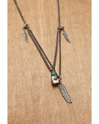 Forever 21   Metallic Ettika Layered Feather Charm Necklace for Men   Lyst