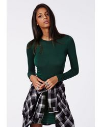Missguided - Rainey Long Sleeve Bodycon Dress Deep Green - Lyst