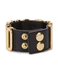 Moschino - Black Lettered Leather Cuff - Lyst