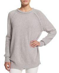 Belstaff - Gray Long-sleeve Braided-trim Sweater - Lyst