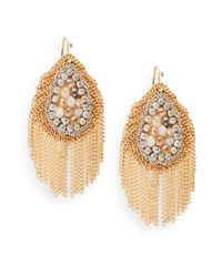 Saks Fifth Avenue | Metallic Beaded Chain Fringe Earrings | Lyst