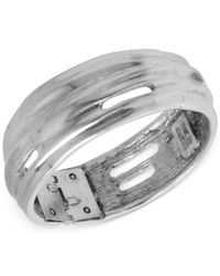 Robert Lee Morris | Metallic Silver-Tone Cut-Out Sculptural Hinge Bangle Bracelet | Lyst