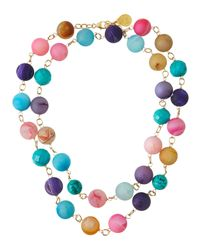 Devon Leigh | Multicolor Agate Druzy Ball Necklace | Lyst