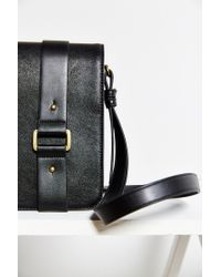 Silence + Noise | Black Buckled-Strap Faux-Leather Shoulder Bag | Lyst