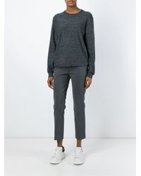 Aspesi - Gray Cropped Trousers - Lyst
