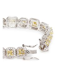 CZ by Kenneth Jay Lane | Yellow Princess Cut Cubic Zirconia Pavé Bracelet | Lyst