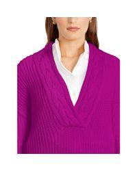 Ralph Lauren - Purple Cotton Split-neck Sweater - Lyst