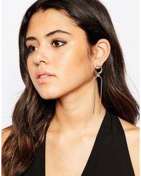 ASOS - Metallic Open Circle Chain Stud Earrings - Lyst