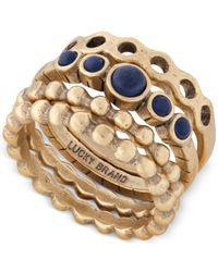 Lucky Brand | Metallic Gold-tone Blue Stone Stack Ring | Lyst
