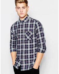 Jack & Jones | Blue Check Shirt With Button Down Collar In Slim Fit for Men | Lyst