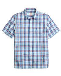 Brooks Brothers - Blue Aqua Plaid Short-sleeve Sport Shirt for Men - Lyst