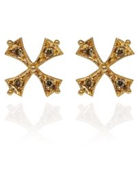 Arman Sarkisyan | Metallic Gold Tiny Cross Green Diamond Earrings | Lyst
