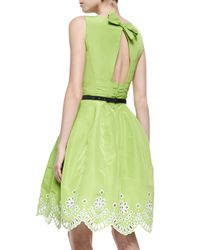 Oscar de la Renta - Green Oscar By Laser-Cut Eyelet Fit-And-Flare Dress - Lyst