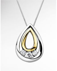 Lord & Taylor | Metallic Teardrop Pendant In Sterling Silver And 14 Kt. Yellow Gold With Diamonds | Lyst