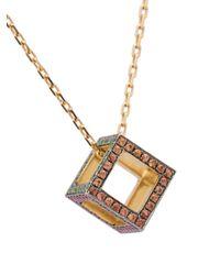 Noor Fares - Metallic Cube Long Necklace - Lyst