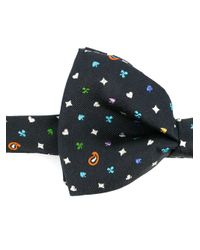 Etro - Blue Embroidered Bow Tie for Men - Lyst