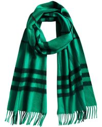 Burberry - Green Cashmere Overdyed Check Scarf - Lyst