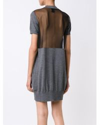 Vera Wang - Gray Tulle Insert Dress - Lyst