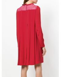Valentino - Red Lace Panel Dress - Lyst
