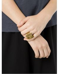 Camila Klein - Metallic Strass Embellished Ring - Lyst