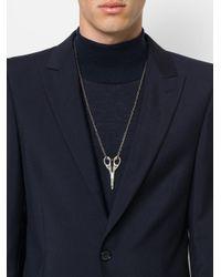 Alexander McQueen - Metallic Scissor Pendant Necklace for Men - Lyst