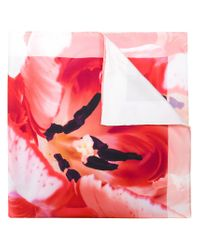 Ferragamo - Red Delicate Flower Print Scarf - Lyst