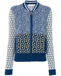 Tory Burch - Blue Intarsia Knit Bomber Jacket - Lyst