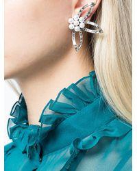 Oscar de la Renta - White Pearl Crystal Flower Earrings - Lyst