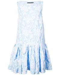 Rochas - Blue Textured Peplum Hem Dress - Lyst