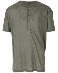 John Varvatos - Gray Button Placket T-shirt for Men - Lyst