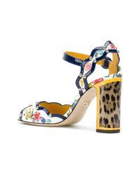 Dolce & Gabbana - Blue Keira Majolica And Leopard Print Sandals - Lyst