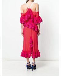 Marco De Vincenzo - Pink Embroidered Off Shoulder Dress - Lyst