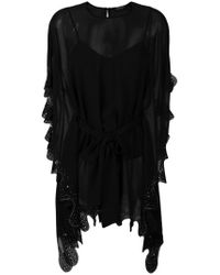 Twin Set - Black Embroidered Draped Blouse - Lyst