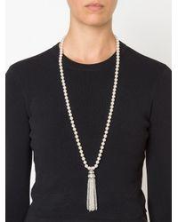 Oscar de la Renta - White Bead Fringe Tassel Necklace - Lyst