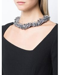 Oscar de la Renta - Gray Beaded Collar Necklace - Lyst