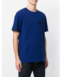 CALVIN KLEIN 205W39NYC Blue Embroidered Logo T-shirt for men