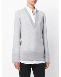 Burberry - Gray V-neck Sweater - Lyst